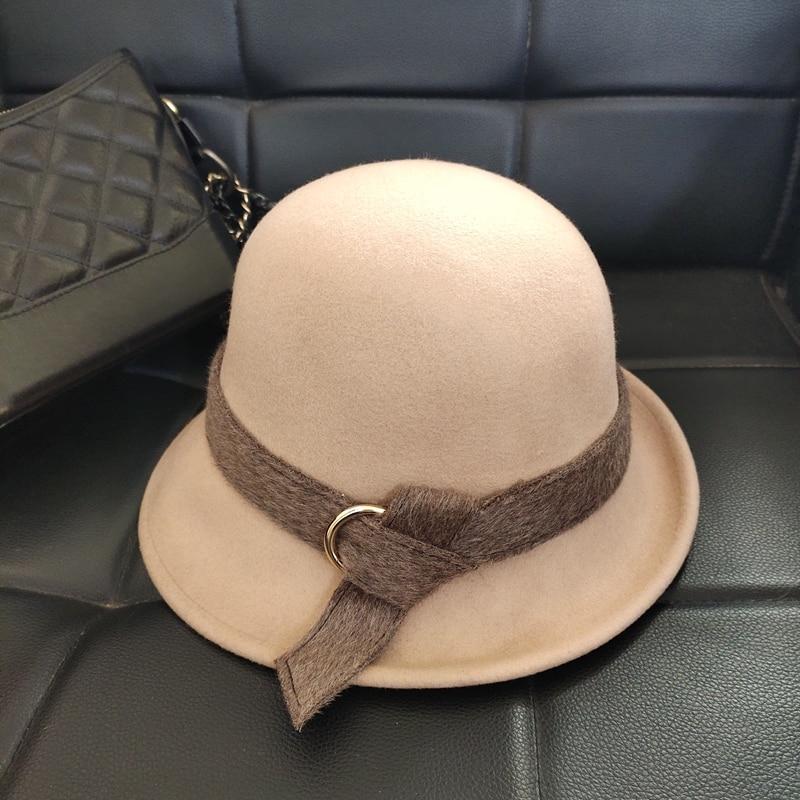 أوروبا والولايات المتحدة الصوف دلو قبعة جديد الشتاء قبعات النساء ورأى تريلبي حافة ورأى قبعة حافة من غير المتماثلة