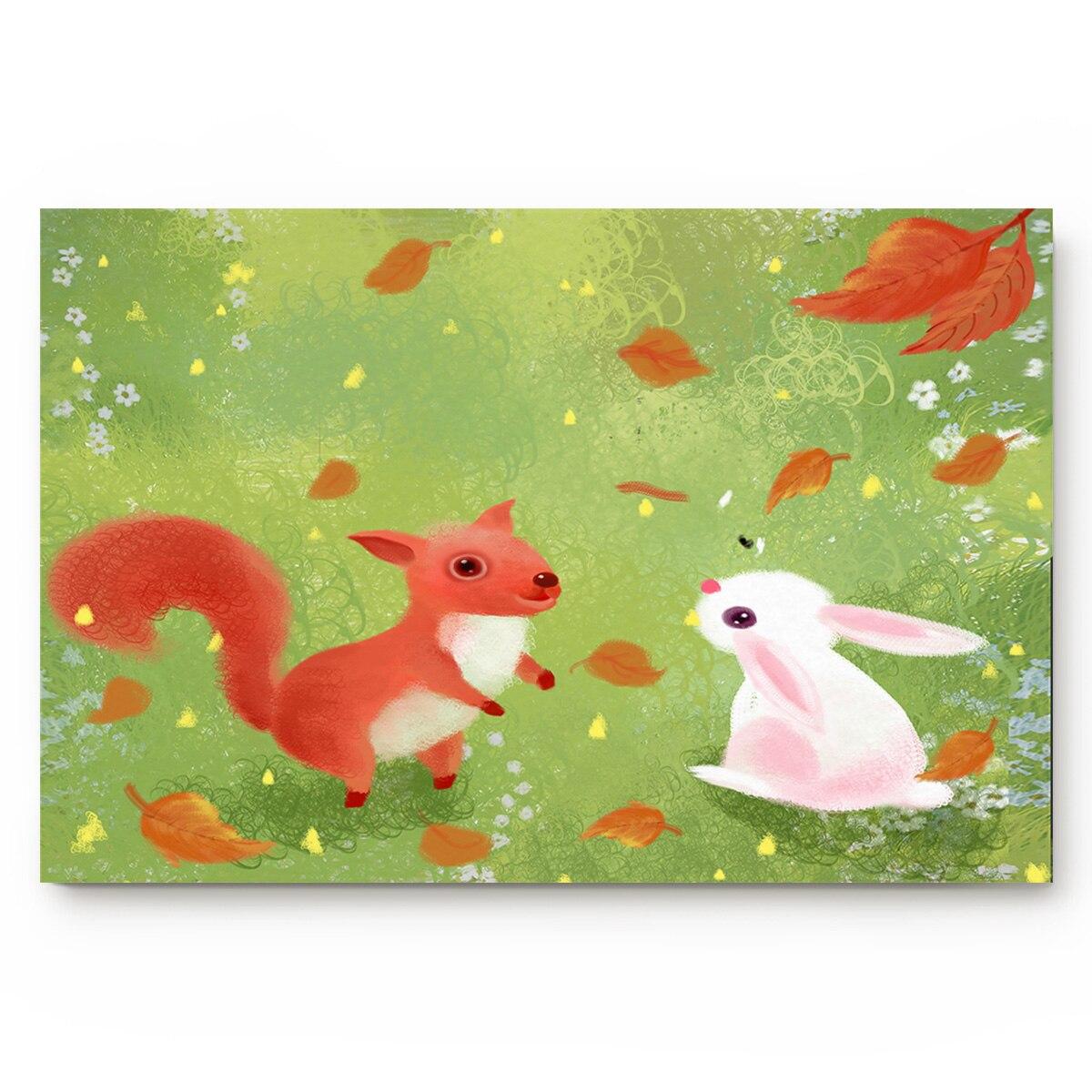 Осенние листья МАЛЕНЬКАЯ БЕЛКА маленький белый кролик животное нескользящий