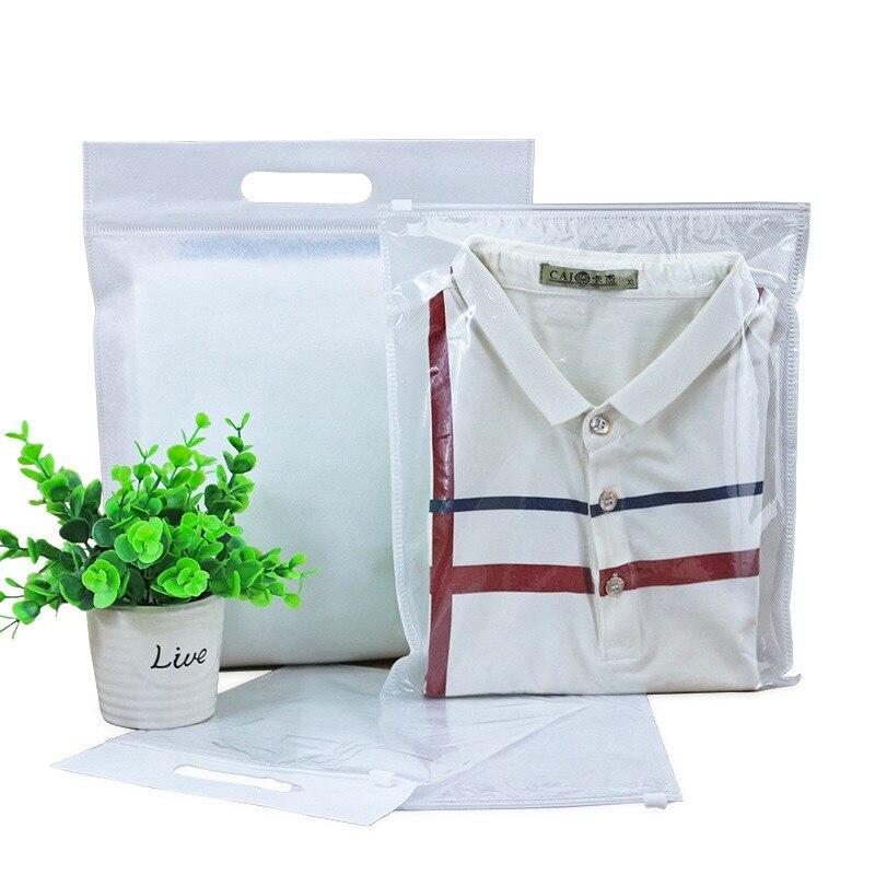 50 قطعة 20*24 سنتيمتر الأبيض الملابس تخزين حقيبة الحقائب المحمولة جانب واحد واضح التجزئة الملابس حقيبة غير المنسوجة تي شيرت حزمة المنظم
