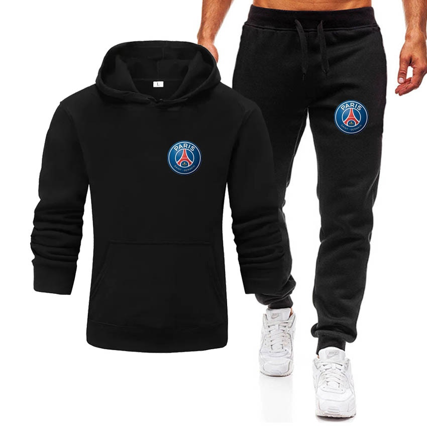 2021 foreign trade style men's leisure sports sweater set letter printed hooded sweater set