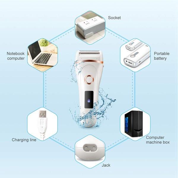 Female USB Charging Epilator, Waterproof LCD Display Shaver, Electric Whole Body Epilator enlarge