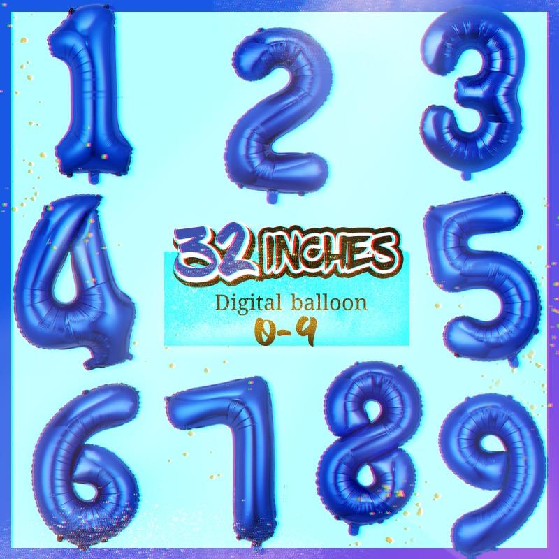 Синие воздушные шары с числами Happy День рождения украшения Детские Фольга воздушные шары воздушные гелиевые воздушные шары для дня рождени...