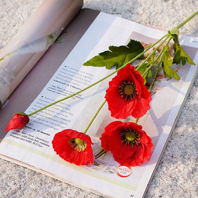 Flor Artificial Mini amapolas de seda sintética flor boda fiesta decoración del hogar DIY fotografía Shoot flor decorativa Prop