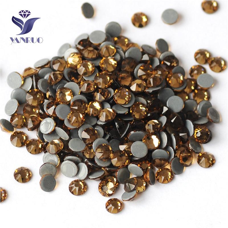 YANRUO 2088HF todos los tamaños piedras y cristales de vidrio de topacio de Colorado ligero artesanía DIY Strass de espalda plana de fijación caliente de diamantes de imitación