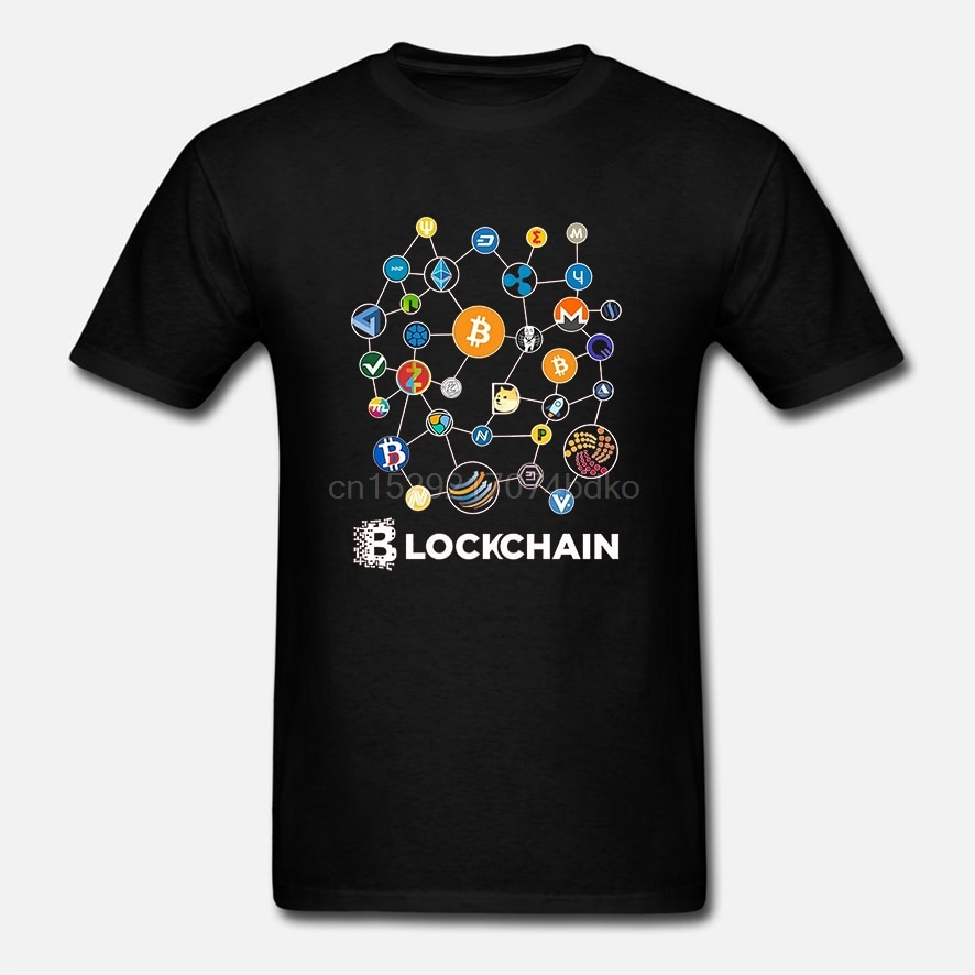Nova venda blockchain bitcoin litecoin ripple ethereum cryptocurrency t para masculino popular tamanho grande t