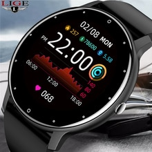 LIGE New 2021 Full touch Female Digital watch waterproof Sports suitable for Android IOS multifuncti