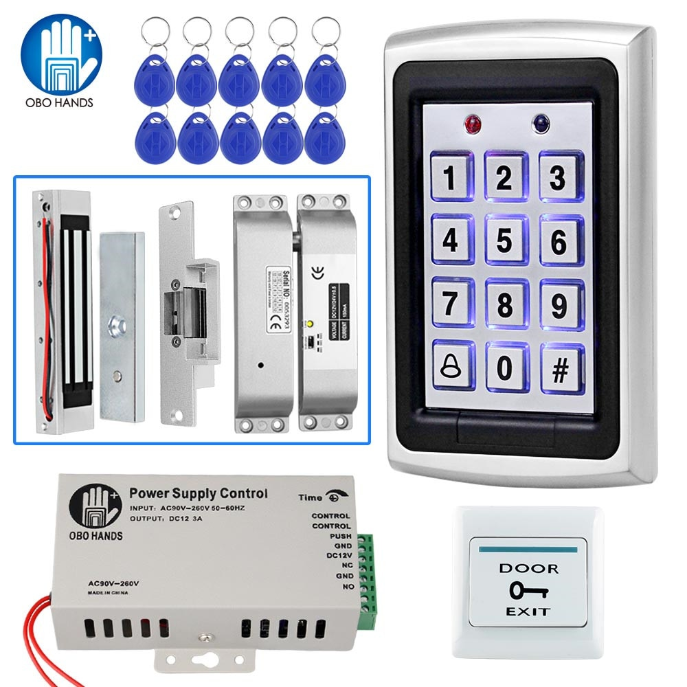 مجموعة نظام التحكم في الوصول لـ RFID ، لوحة مفاتيح معدنية مستقلة ، قفل إلكتروني ، مزود طاقة ، مخرج باب 12 فولت تيار مستمر ، مع مفاتيح معرف 125 كيلو ...