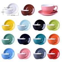 220ML moderno set de tazas de café de cerámica de estilo europeo Simple Cappuccino tazas de café Mocha café taza y platillo