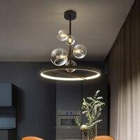 Подвесная лампа Artpad в скандинавском стиле, круглая Потолочная люстра черного цвета, освещение для гостиной, столовой, кухни, 28, 48 см
