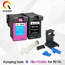 Suministros CMYK cartucho de tinta compatible para HP 901 HP 901xl 4500 J4580 J4550 J4540 4500 J4680 J4524 J4535J4624 impresora hp901