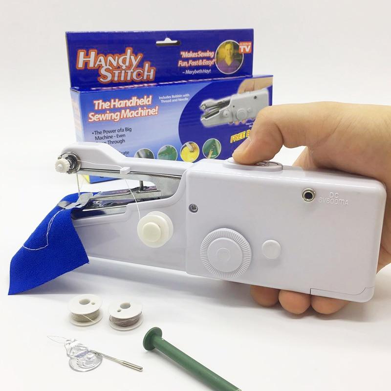 1 Juego de máquina de coser portátil de mano, costura rápida, costura, costura inalámbrica, telas para ropa, Mini máquina de coser con Kits de costura