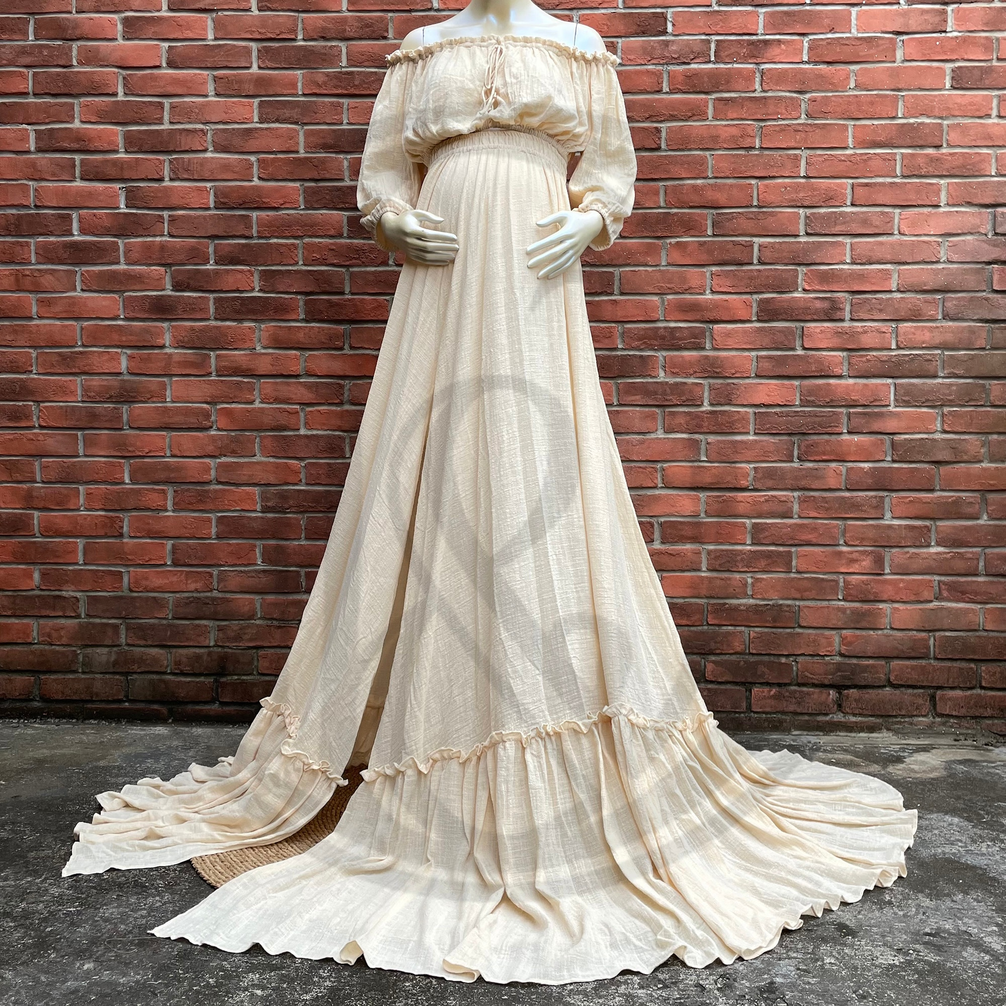 Photo Shoot Props A Suit Cotton Kaftan Full Sleeves Robe Maternity Dress Evening Party Costume for Women Photography Accessories enlarge