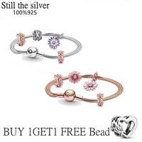 high quality genuine 100 sterling silver 925 flat bracelet chrysanthemum bracelet for women with original diy charm jewelry