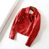 spring autumn 2021 faux pu leather jacket women slim zipper black red green streetwear punk coats ladies motorcycle biker jacket
