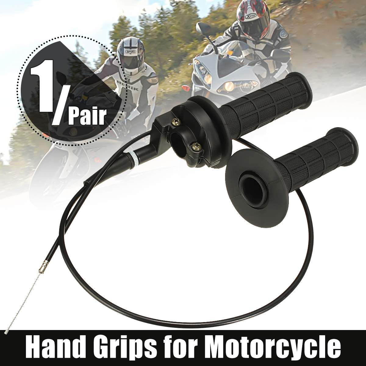 "1 par de empuñaduras universales de 7/8 ""22mm para Acelerador de motocicleta manillar con Cable de alambre para moto de cross Pit Bike ATV Scooter"