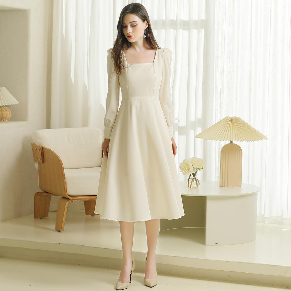 Soft Satin Wedding Bridesmaid Gown Long Sleeve Bridal Shower Engagement Pictures Tea Length Cheap 2020 Bridal Dresses #808CX