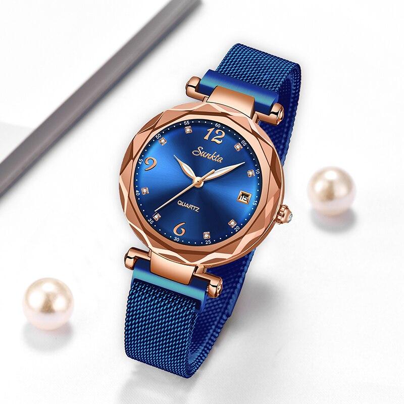 SUNKTA Women Starry Sky Watch Luxury Magnetic Buckle Mesh Band Quartz Wristwatch Female Rose Gold Diamond Watches zegarek damsk enlarge