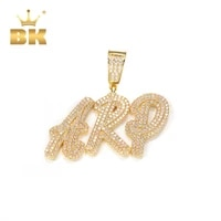 the bling king double layer overlapping cursive font pendant solid make your words necklaces iced out zirconia hiphop jewelry