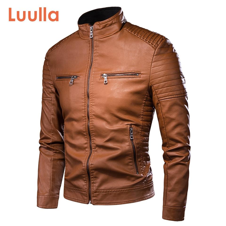Luulla Men Spring Brand New Causal Vintage Leather Jacket Coat Men Outfit Design Motor Biker Zip Pocket PU Leather Jacket Men