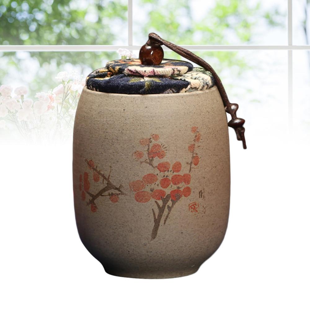 Recipiente de almacenamiento de jarra de té pintado a mano de cerámica gruesa de estilo chino, Tapa de tela pintoresca sellada, lata de azúcar de café en lata para regalo