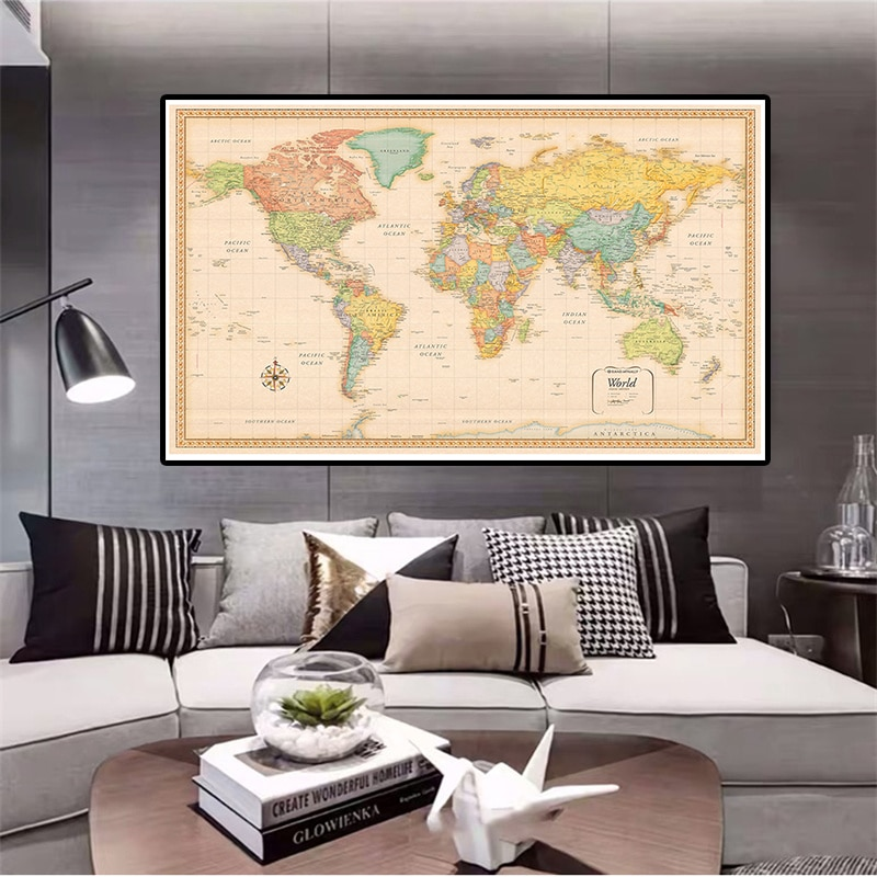 150*100cm The World Political Map Classic Vintage Non-woven Canvas Painting Wall Art Poster Home Decor School Supplies