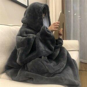 Зимнее теплое одеяло с капюшоном для телевизора, уютное Флисовое одеяло с капюшоном для дивана, утяжеленное одеяло с рукавами для взрослых ...