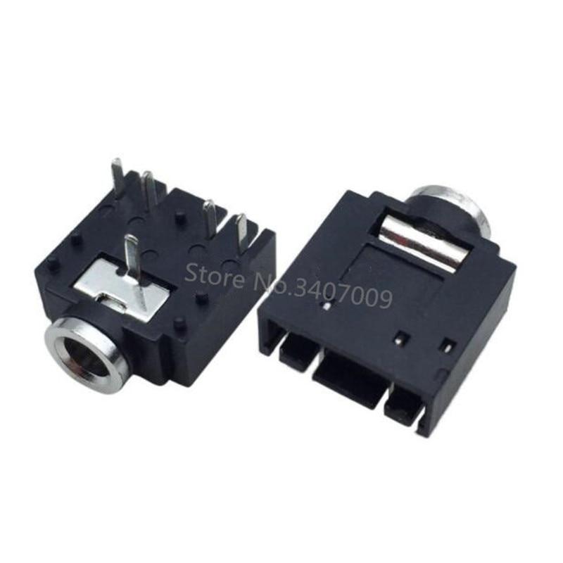 10 шт. PJ-307 PJ307 черный 3,5 мм стерео разъем аудио разъем PCB 3F07 -5PIN