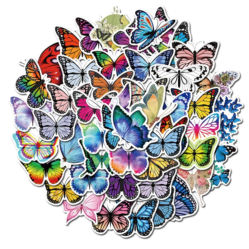 10/30/50pcs Pack Butterfly Stickers for Laptop Skateboard Guitar Stationery Stickers DIY Fridge Car