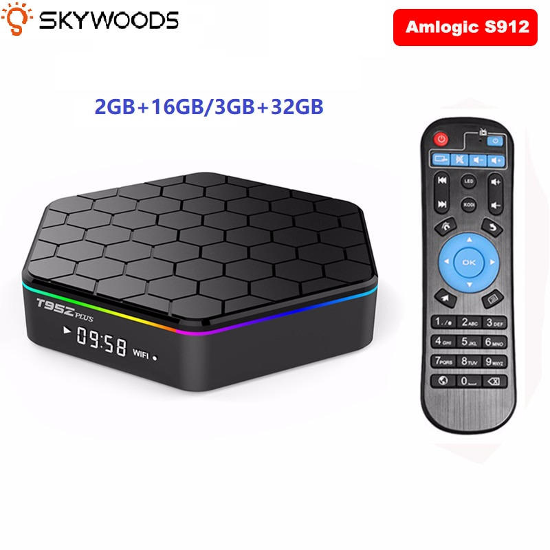 Skywoods T95Z Plus Dispositivo de TV inteligente 2 GB/16 GB 3 GB/32 GB Amlogic S912 Octa Core Android 7,1 TVBOX 2,4G/5 GHz WiFi BT4.0 4K Set Top Box