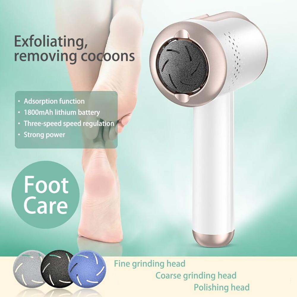 Electric Foot Grinder Machine Pedicure Tools Foot Care 3 Grinding Heads Remove Leg Heels Dead Skin Callus Remover Waterproof
