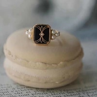 luxury vintage rings for women adjustable wide band boho engagement ring with pearl