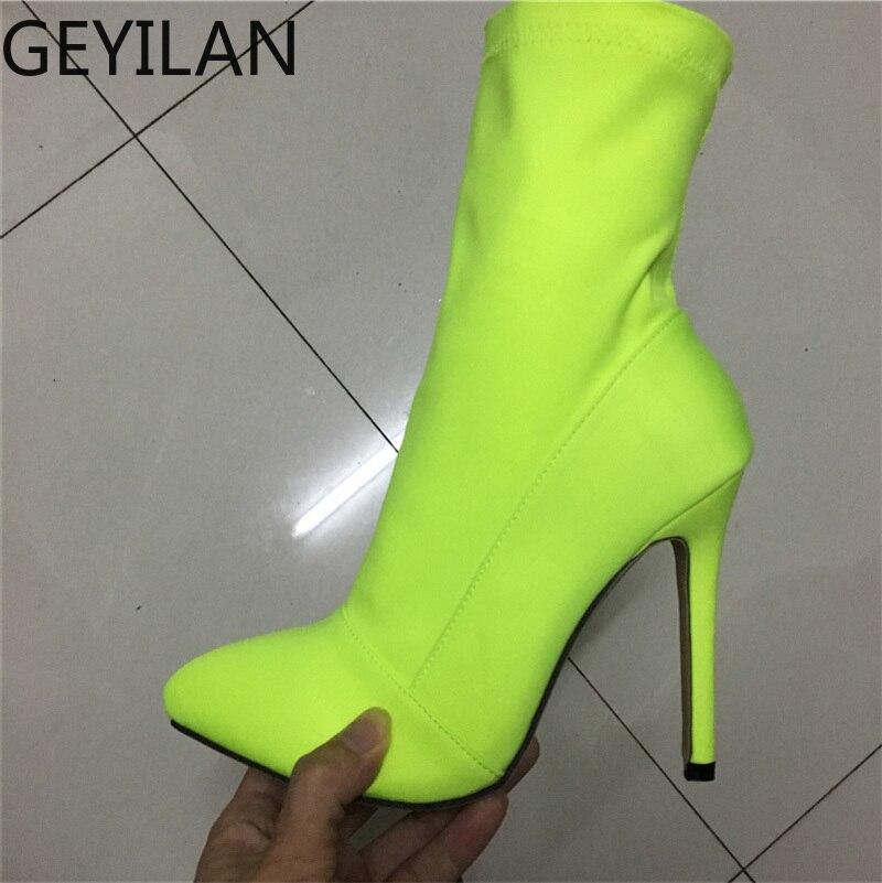 2019, botas de calcetín de seda fetiche de talla grande 42 para mujer, botas de tacón alto de 11,5 cm, tacones de aguja elásticos, botines de color rojo neón verde, zapatos de melocotón