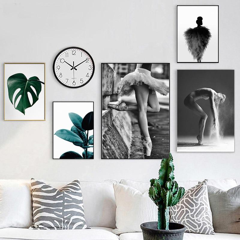 Северный зеленый лист постер танцевальная девушка Картина Настенная живопись холст печать Современное украшение для дома для кухни спальни гостиной