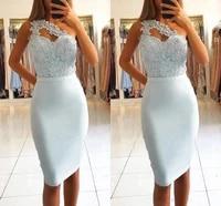 elegant cocktail dresses sheath one shoulder appliques lace beaded knee length homecoming dresses