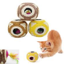 Willekeurige Kleur Kat Spelen Kauwen Speelgoed Natuurlijke Zes Gaten Sisal Bal Kat Krassen Berichten Speelgoed Bal Veer Speelgoed Huisdier Katten producten
