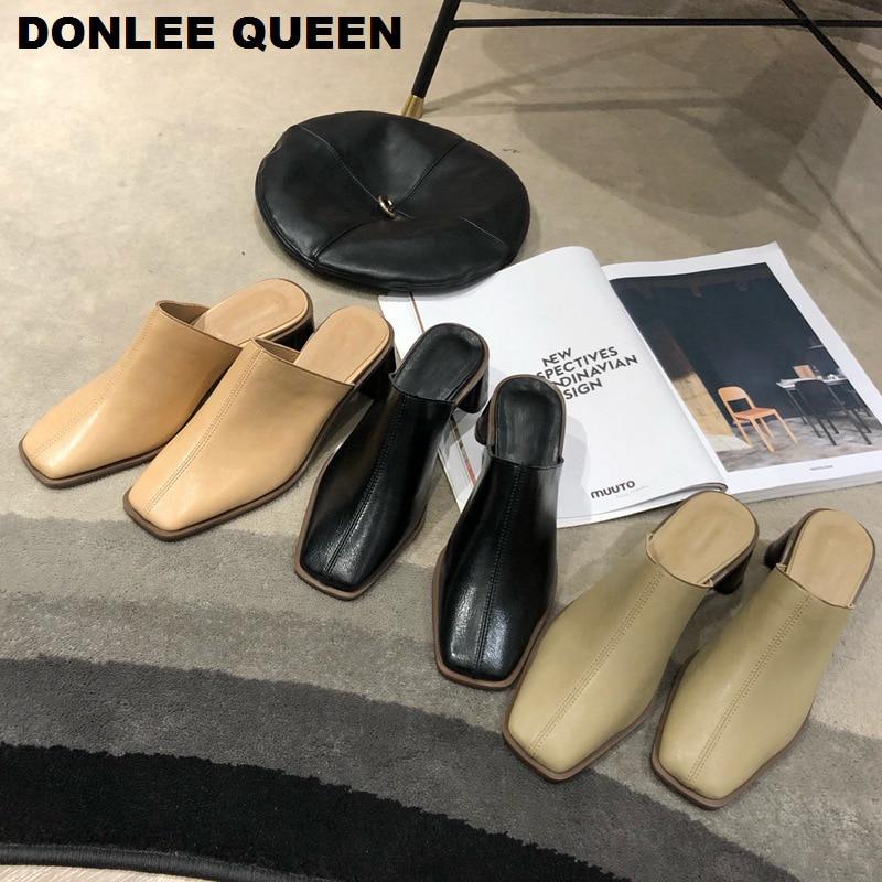 Frauen Hausschuhe High Heels Maultiere Schuhe Slip Auf Casual Büro Schuhe Frau Karree Rutschen Im Freien Weibliche Sandalen zapatos de muje