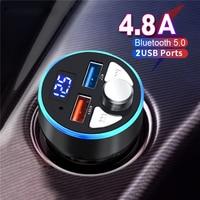 Bluetooth 5,0 FM-передатчик 4.8A быстрое зарядное устройство Автомобильный MP3-плеер модулятор громкой связи аудио адаптер автомобильные аксессуары