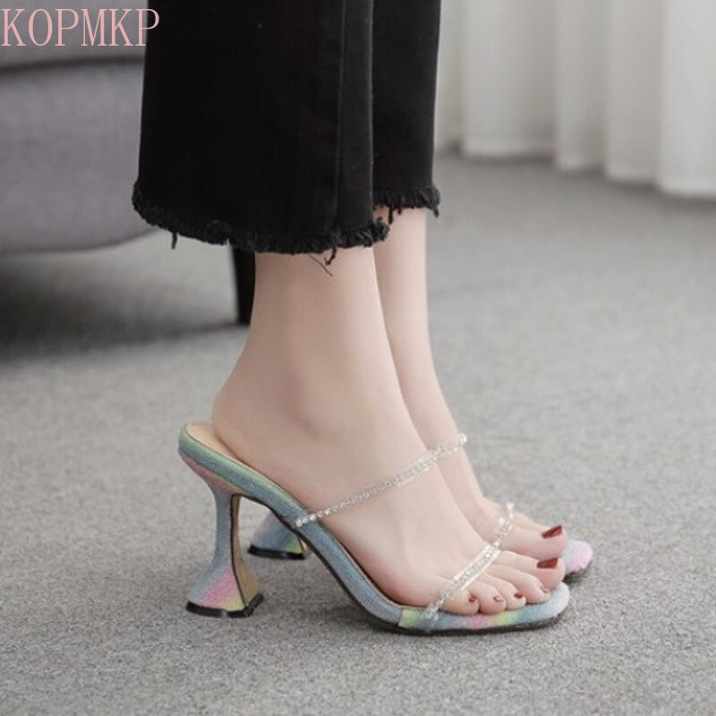 New Fashion Simple Word with Rhinestone Glass High Heels Slippers Female Shoes