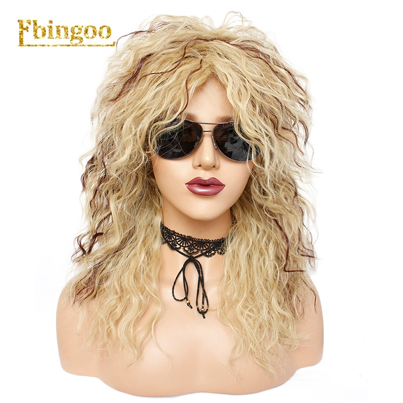 Ebingoo 70s 80s Disco Hallween Rocker Wig Long Kinky Curly Gold Blonde Brown Synthetic Wig for Female Mullet Role Play Party