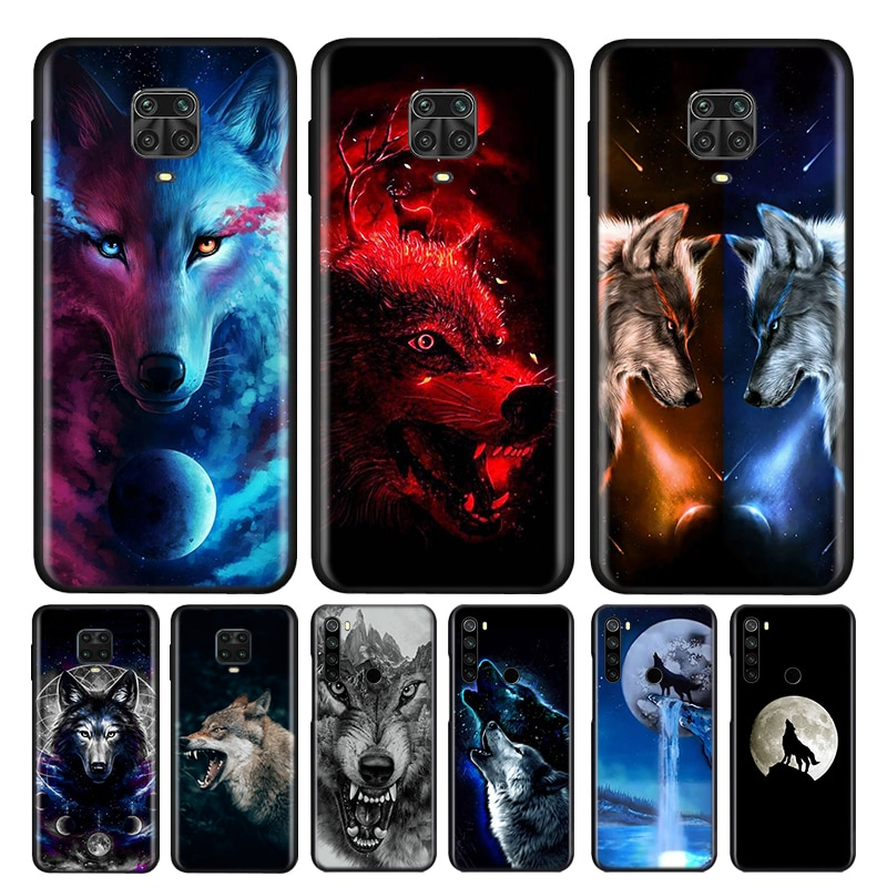 Moon Roaring Wolf Silicone Cover For Xiaomi Redmi Note 10 10S 9 9S Pro Max 9T 8T 8 7 6 5 Pro 5A Phon