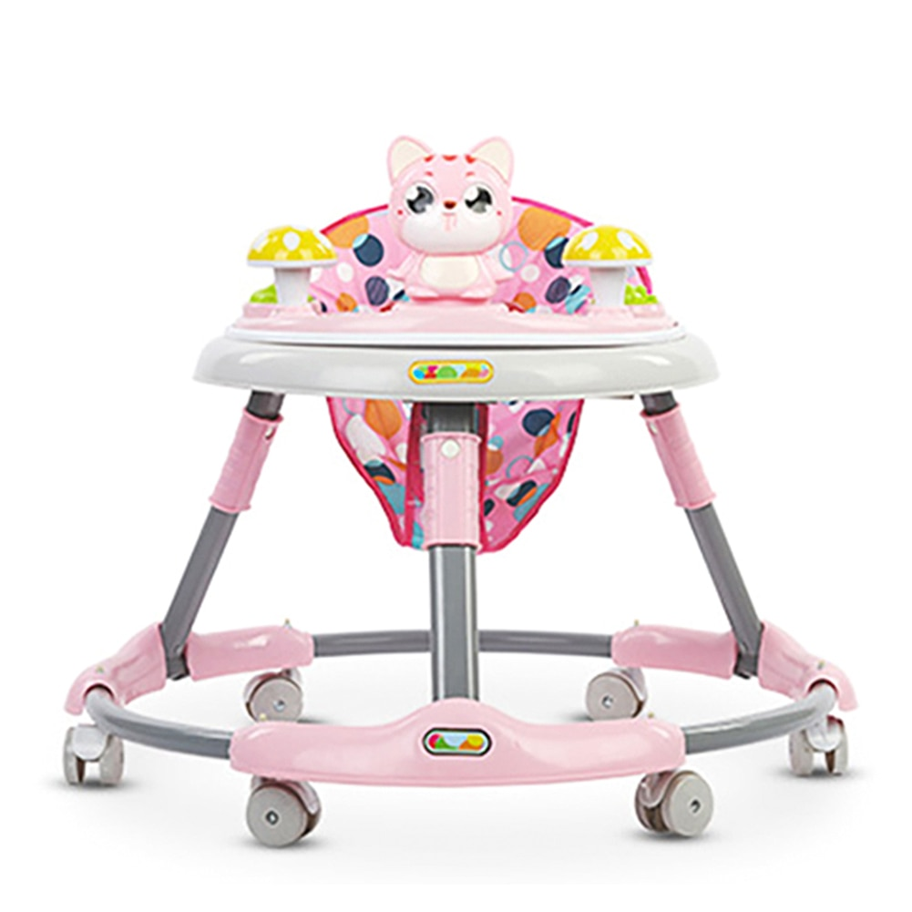 Cute Cat Baby Walker with Wheel Toddler Walk Learning Anti Rollover Foldable Wheel Walker Multi-Functional Seat Balance Car недорого