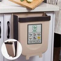 Folding Hanging Kitchen Trash Can Plastic Trash Bin Kitchen Compost Caddy Garbage Bin Waste Bin for Home Car