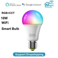 WiFi Smart Bulb RGB CCT 10W E27 Corlorful Dimmable Led Light Timer Remote Controller Lamp Magi Home Pro APP Alexa Google Home