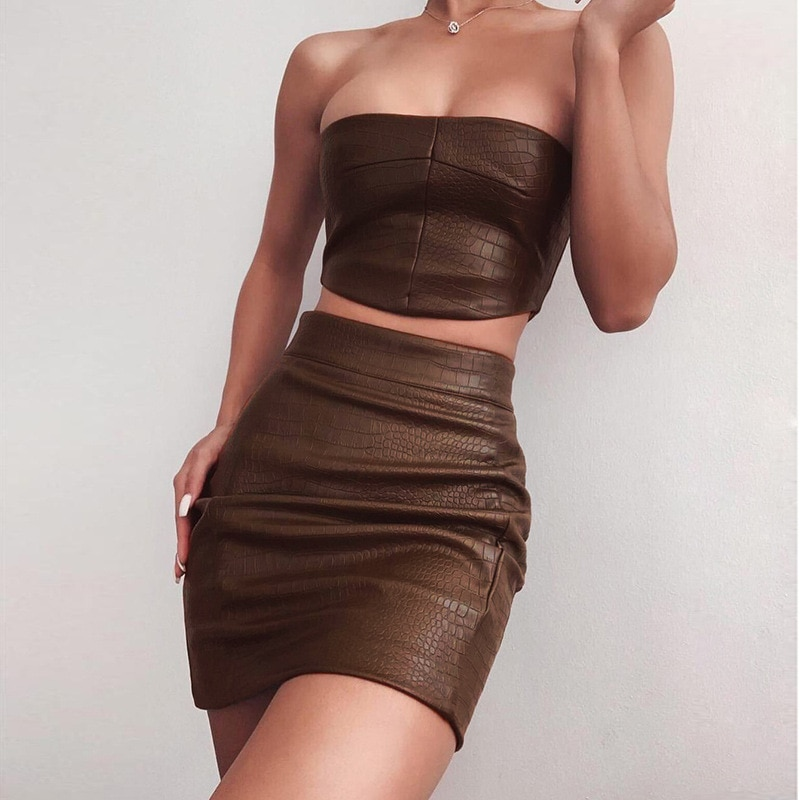 Bodycon Strapless Two Piece Sets Women Black Sleeveless Skinny Clothes Spring 2021 Streetwear Casual Party