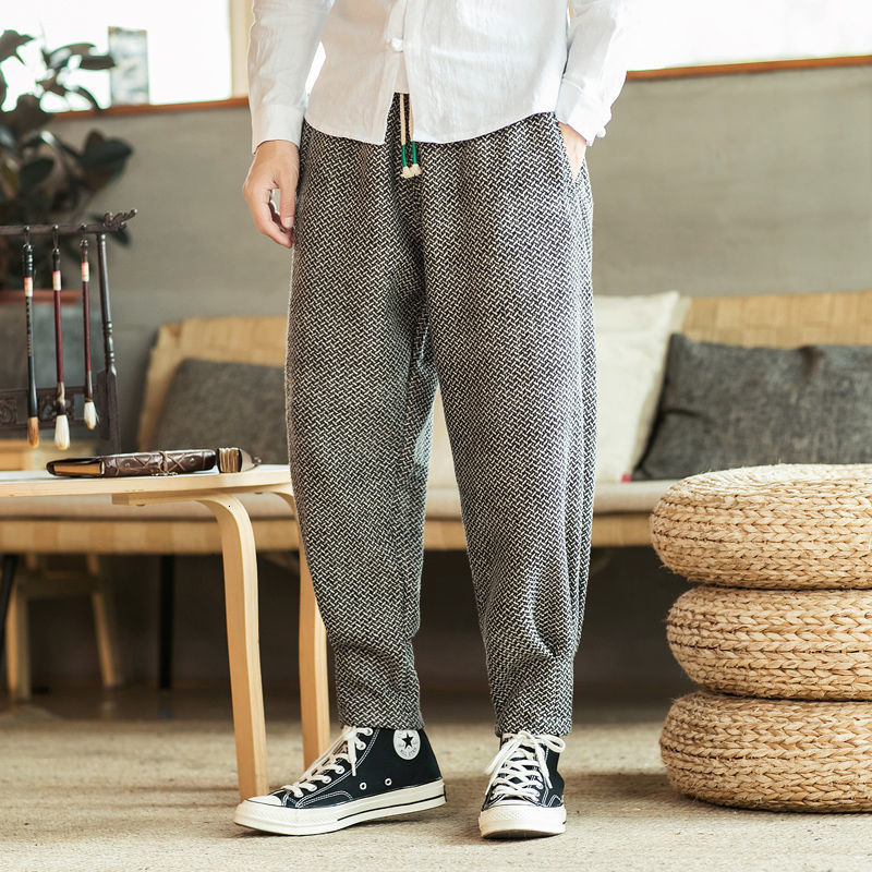 MrGoldenBowl Men's Solid Color Straight Harem Pants Chinese Style Man Loose Ankle-Length Trousers Streetwear Male Casual Pants