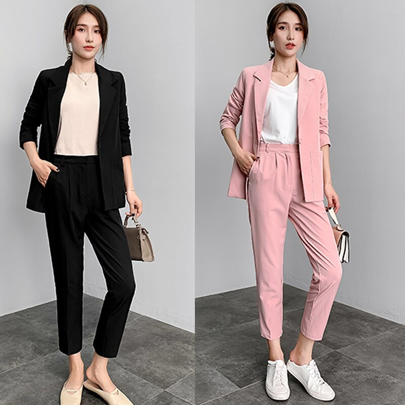 Women's 2 sets of pink suit pants suit women's fashion spring and autumn new temperament Slim suit jacket OL professional dress