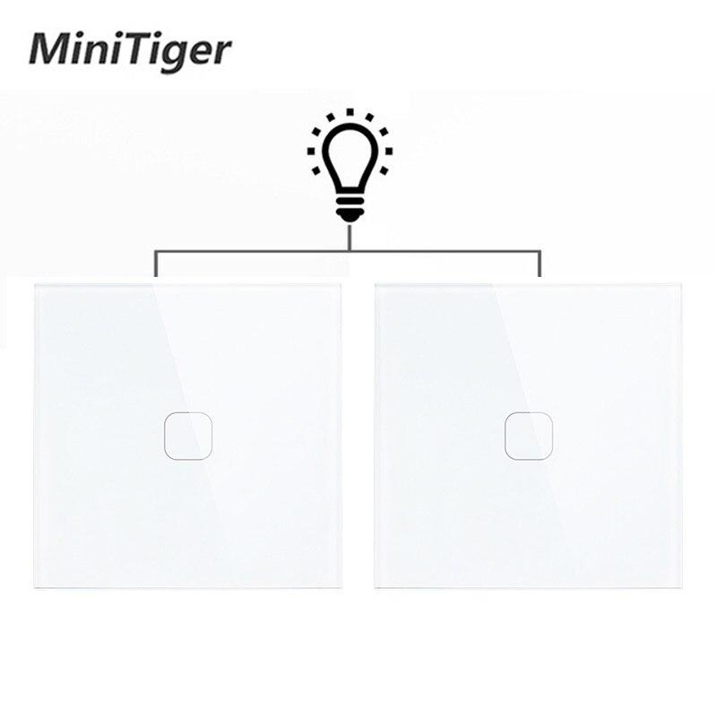 Minitiger EU Standard Luxury Glass Crystal Panel 1 Gang 2 Way Light Wall Touch Switch Waterproof and Fireproof 2pcs/pack