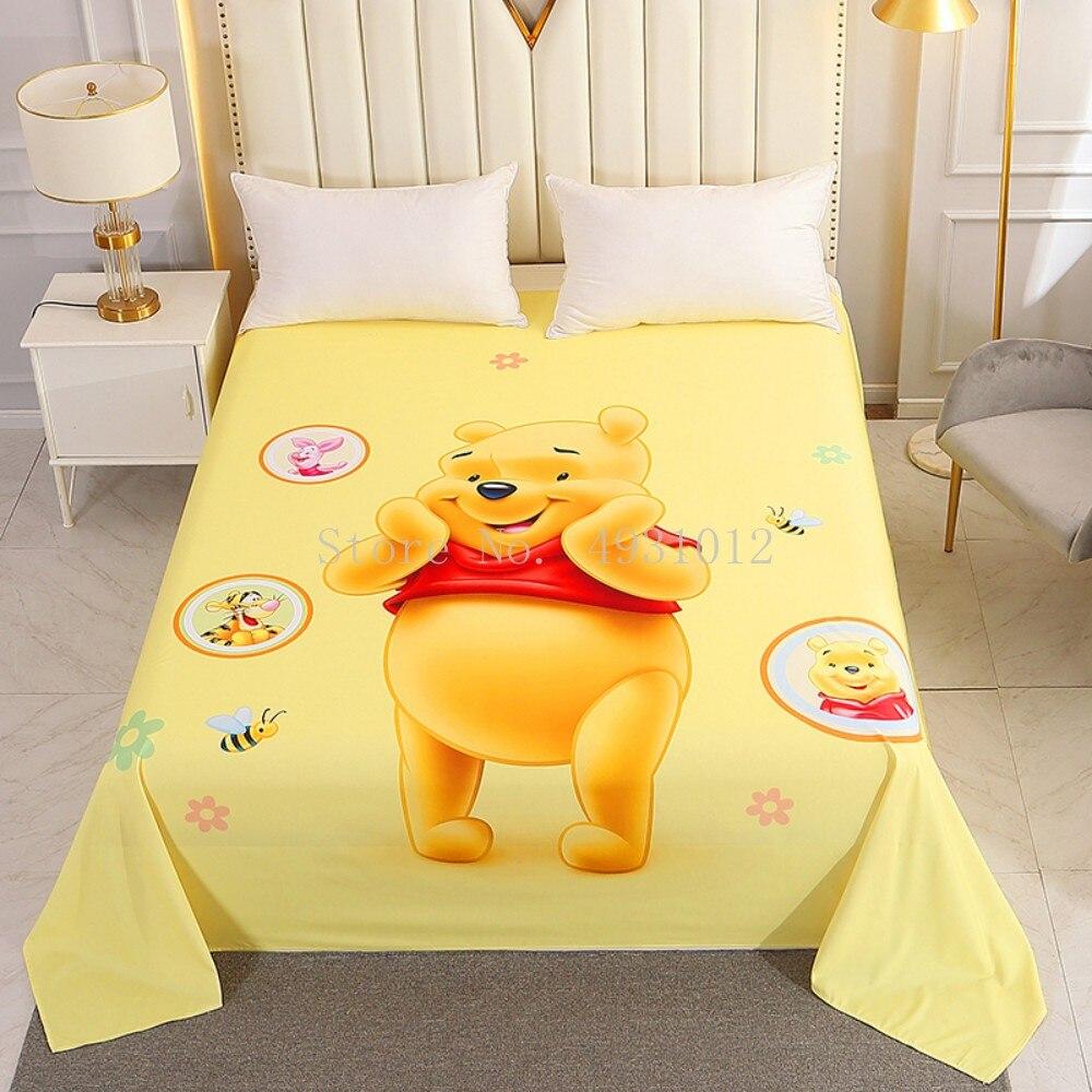 ديزني المنسوجات المنزلية الكرتون ويني ذا بوه ملاية سرير ناعمة غطاء غطاء مرتبة ملاءات بنين بنات أطفال الأطفال الفراش
