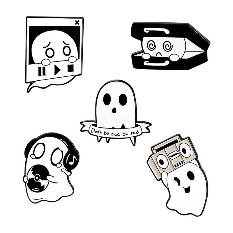 Cute Boo Enamel Pins Custom Ghost Music Box Brooch Cartoon Funny Jewelry Gift for Kids Friends Lapel