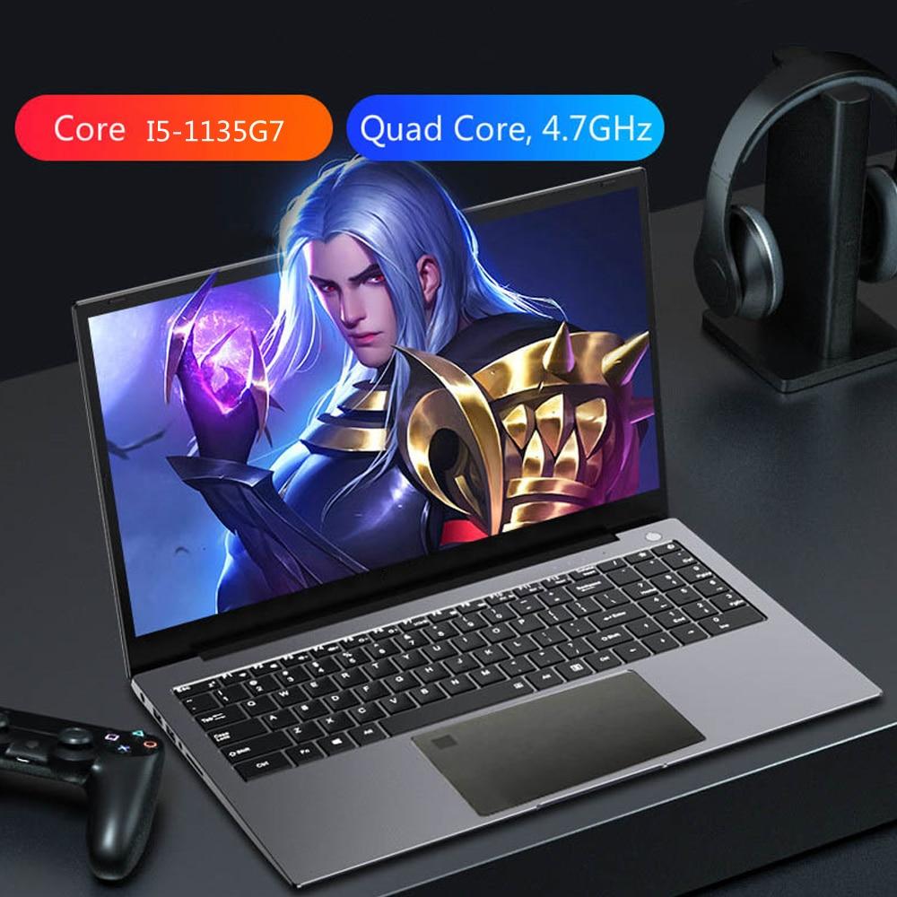 Fingerprint Unlock Gaming Laptop 15.6 Inch IPS Screen Intel Core I5-1135G7  Ultraslim 1th Gen Notebook Windows 10 Max Ram 32GB